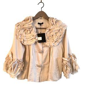 Ryu Blazer Jacket Floral Ruffled Detail Sleeve
